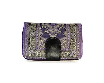 Purple Womens Clutch, Paisley Billfold, Organizer Wallet, Boho Pocketbook, Vegan Coin Purse, Zip Snap Wallet, Zip Purse, Bohemian Pouch, Bag