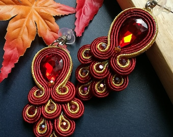 Elegant Red Ruby Crystal Soutache Peacock Earrings Statement Dangle Ethnic Boho Chic Earrings