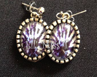 Purple Psychedelic Drop Earrings
