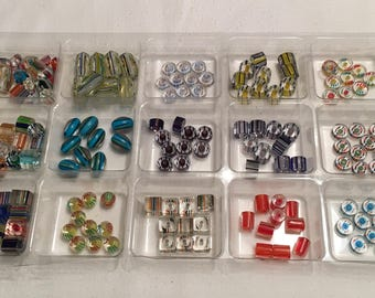 Cane Glass Beads lot. Everything in tray.