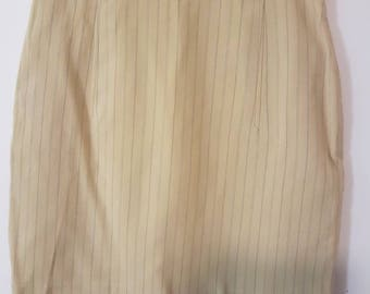 Beautiful camel coloured pinstripe vintage business skirt.