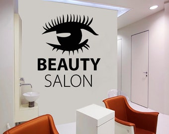 Wall Decal Window Sticker Beauty Salon Woman Face Eyelashes Lashes Eyebrows Brows t57