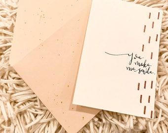 Handmade 'You Make Me Smile' print/greeting card