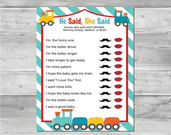 DIY Instant Download Printable Train Baby Shower Game-He Said, She Said BS003
