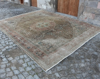 Free Shipping Unique incredible Turkish Rug Large Area Rug 9.8 x 12.8 ft. Vintagearerug Rugs Floor Rug Anatolian Oushak Rug Turkey Rug MB164