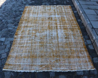 Anatolian rug, Free Shipping Yellow Rug 4.7 x 7.5 ft. handknotted livingroom rug, home design overdyed rug, pale color rug, faded rug, MB293
