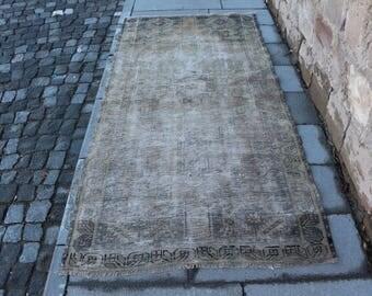 Runner size turkish rug, tradational anatolian rug, bohemian hall rug, Free Shipping 3.6 x 7.3 ft. floor rug, rustic rug, boho rug MB304