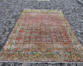 Oversize oushak rug, Free Shipping 6.6 x 9.9 ft. bohmeian rug, nomadic rug, pale color rug, luxury rug, low pile rug, hall rug MB347