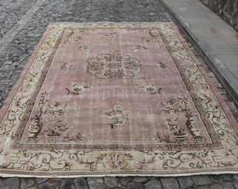 Free Shipping unique handmade ethnic turkish rug 7. x 10.3 ft. rugs, turkey rug, decorative bohemian rug, oushak rug, anatolian rug, MB364