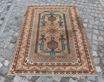 Unique handknotted turkish rug Free Shipping vegetable dyed ethnic rug 3.8 x 5.2 ft. area rug bohemian decor rug aztec rug rustic rug MB388