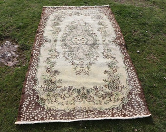 Handknotted turkish rug, 3.8 x 6.8 ft. Free Shipping bohemian rug, beige color turkish rug, home decor anatolian rug, aztec rug, MB536