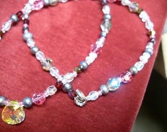 Swarovski Freshwater Zuchtperlen Necklace pink, lilac, glitter, sparkle, shimmer, 925 sterling silver Clasp