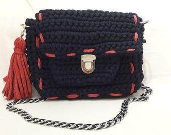 Dark Blue Handbag Crochet bag Bags Crochet Handbag Handmade Crochet Shoulder bag Black Bag Stylish