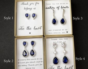 Bridesmaids earrings, navy blue Tear drop earrings, Bridesmaids gifts , Blue Bridal earrings, navy blue studs earrings , navy blue necklace