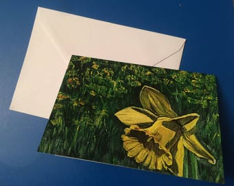 Daffodil blank A6 greeting card. Print from acrylic painting