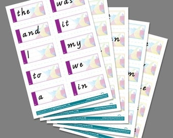 Oxford Wordlist PLUS 1-50 FLASHCARDS Printable PDF for Teachers and Parents
