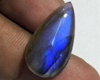 12.2 Cts 100% Natural Medagascar's Labradorite Cabochon Blue Flash Fire Polished Cabochon Healing Quartz Pear Shape 23x12x4 mm N#1272-6