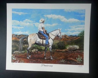 """Horse and Rider Giclee Print Entitiled """"Pondering"""" by Cindy Sutter, Signed and Numbered Limited Edition of 50 Prints"""