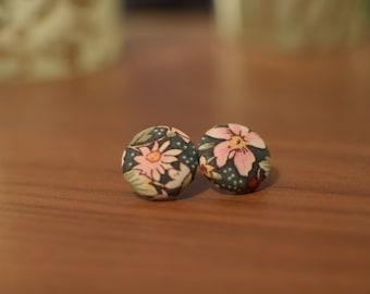 Handmade Fabric Button Earrings (Floral Print)