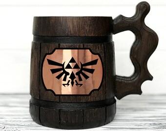 Legend Of Zelda Mug. Zelda Gift. Zelda Stein. Zelda Ornament Triforce Gamer Mug Custom Beer Steins Wooden Beer Tankard. Gifts for Gamer #100