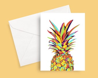 Fun colorful pineapple greeting card - just because - friend - new home