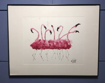 Flamingos Watercolor 8x10 Print (unframed)