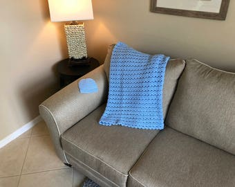 Small Baby Blue V-Stitch Baby Blanket/Afghan w/ Hat