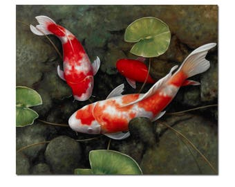 Koi fish painting a beautiful kohaku koi fish paiting in the pond with lutos leaves