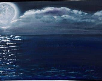 Moonlight on water original handmade painting on canvas