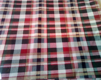 "Printed Polyfrost Red, Grey & Green Tartan Fabric Sample 27"" x 30"""