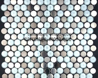 Mosaic tiled kitchen Multi Round glass and stainless steel