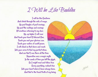 Original Art and Poetry, Buddha, Peace, Maya, Heart