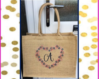 Large gold shimmer jute bag with personalised initial in navy blue with heart print design, shopper bag, beach bag