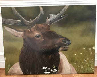 Wildlife Elk oil painting on Linen