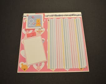 8x8 Premade Scrapbook Page Baby Winnie the Pooh