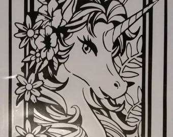 Unicorn and Flowers vinyl decal sticker for windows walls cars trucks and decor also customizeable with name available