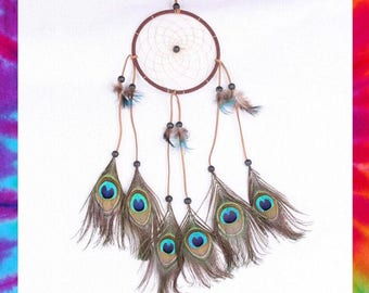 Peacock feathered dreamcatcher