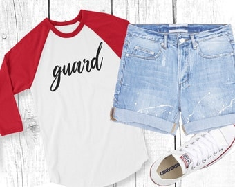 GUARD 3/4 sleeve raglan shirt - winterguard / colorguard / winter guard / color guard / wgi