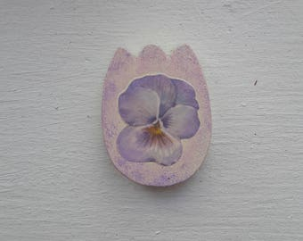 Wooden Tulip magnet made with decoupage technique
