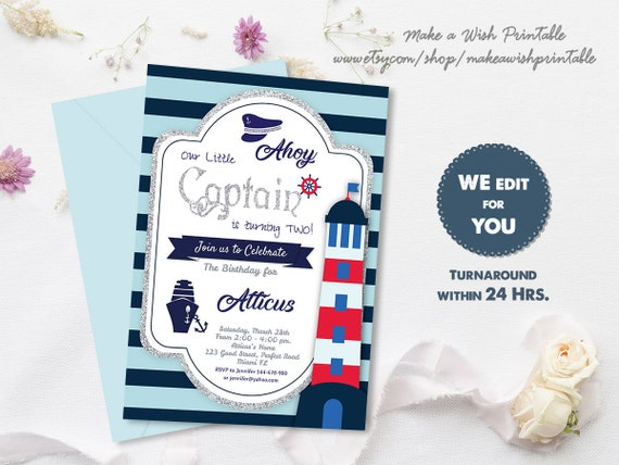 Nautical Birthday Invitation Boy Sailor Invitations For Boys Editable