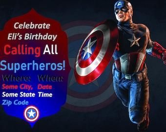 Captain America, Captain America Invitation, Birthday Invitation, Captain America Birthday Invitation