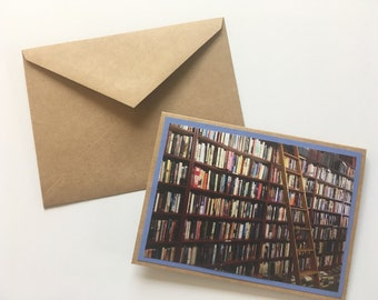 Set of 6 blank library folded note cards. Inside is blank. Matching brown envelopes included.
