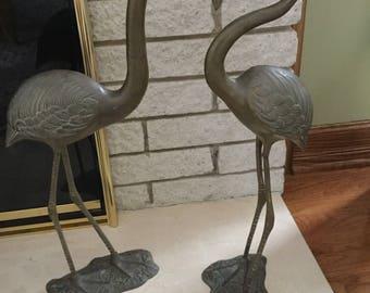 BRONZE FLAMINGO FIGURINE sculptures tall