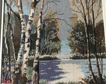 Lake with birches trees
