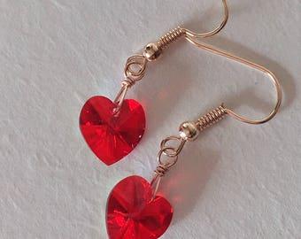 Swarovski Red Heart Earrings