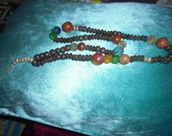 Moroccan Jewelry, old Saharan/Tuareg set prayer beads, all original, ebony, carnelian, agate, old glass & crystal, old scrap aluminum