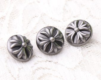 10pcs 13*9mm round metal buttons crossed grid on the back embossed buttons light black buttons