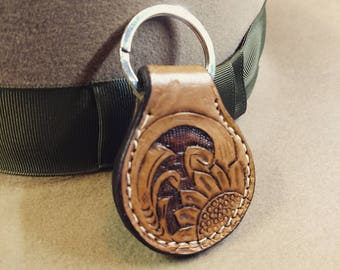 Personalized Tooled Leather Key Chain