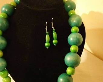 Green coloured beads