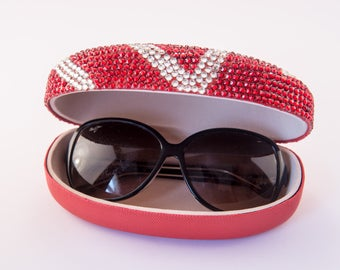 Diamante Bling Glasses Case In Red & Silver